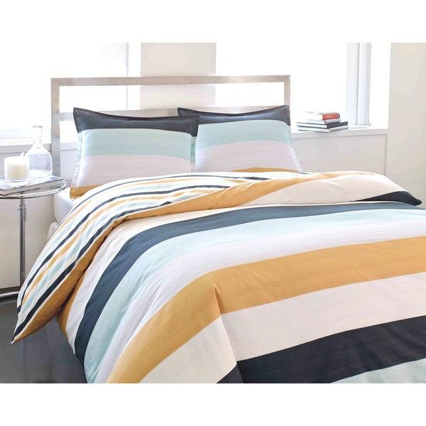 City Scene Sandbar Stripe Cotton 3-piece Duvet Cover Set