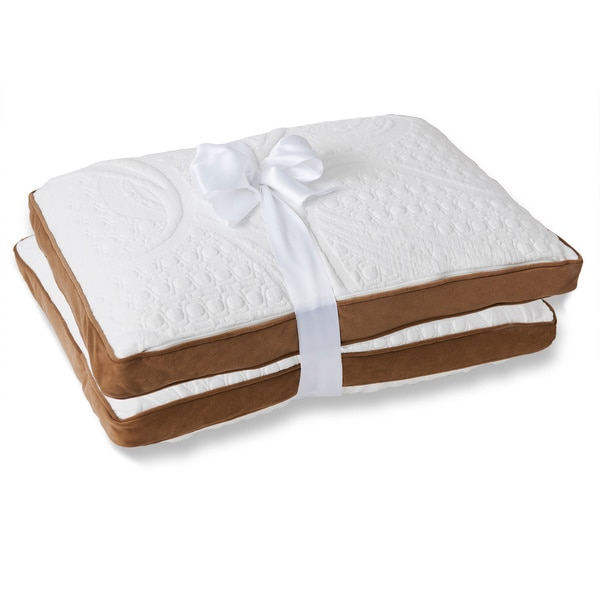 Priage Dual-sided Memory Foam Microfiber Pillow (Set of 2)
