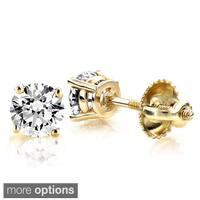 Luxurman 14k Gold 1/2ct TDW Round-cut Diamond Stud Earrings