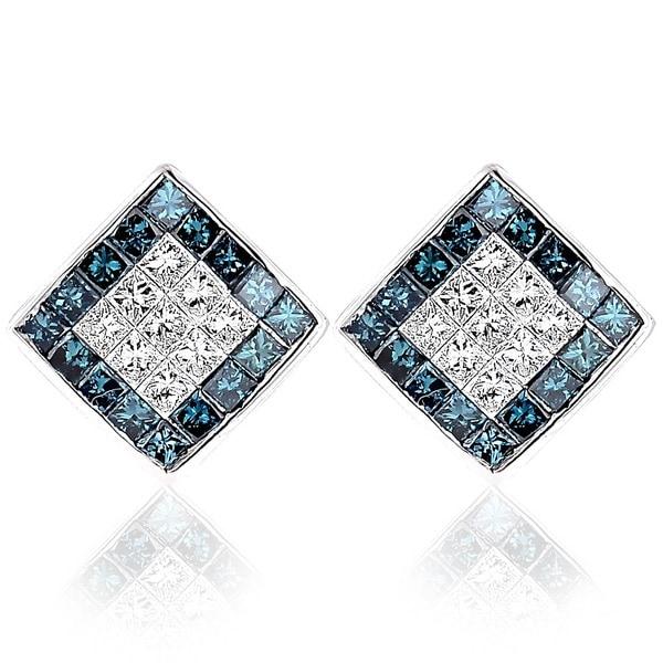 Luxurman 14k White Gold 1 10ct Tdw Blue And Princess Cut Diamond Earrings
