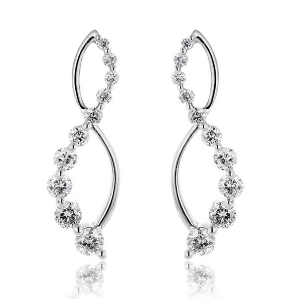 Luxurman 14k White Gold 1 10ct Journey Diamond Dangle Earrings