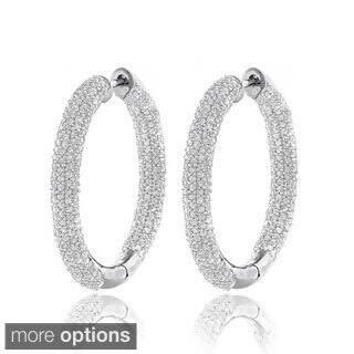 Luxurman 14k White Gold 2 5 8ct Tdw Inside Out Pave Diamond Hoop Earrings