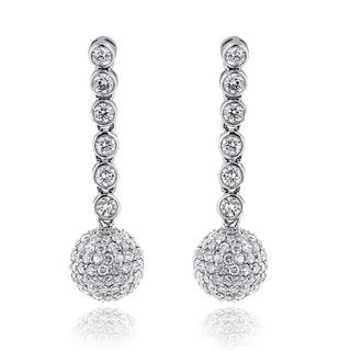 Luxurman 14k White Gold 2 1/2ct TDW Globe Pave-set Diamond Dangle Earrings (G-H, VS1-VS2)