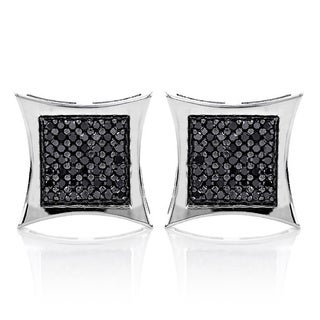Luxurman 14k Gold 1 3/5ct TDW Black Diamond Earrings