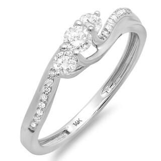14k White Gold 1/2ct TDW Round-cut Diamond Engagement Ring (H-I, I1-I2)