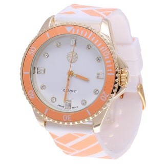The Macbeth Collection Women's Orange Color Fashion Rubber Band Watch