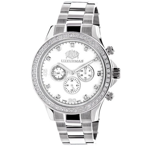 Luxurman Men's Liberty 2ct Diamond Bezel Mother of Pearl Watch with Metal Band and Extra Leather Str