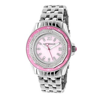 Luxurman Women's 1/4ct Diamond Pink Mother of Pearl Watch with Metal Band and Extra Leather Straps