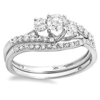 14k White Gold 4/5ct TDW Round Diamond Bridal Set