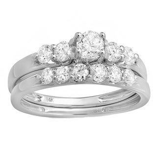 Elora 14k White Gold 1ct TDW Round Diamond 5-stone Bridal Ring Set
