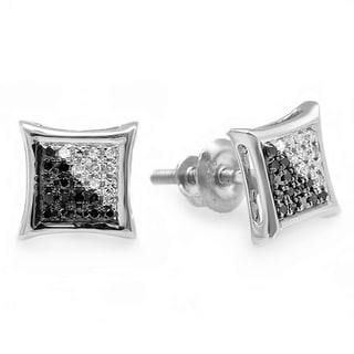 Sterling Silver White and Black Diamond Micro Pave Stud Earrings