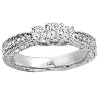 Elora 14k White Gold 5/8ct TDW Round Diamond Three-stone Ring