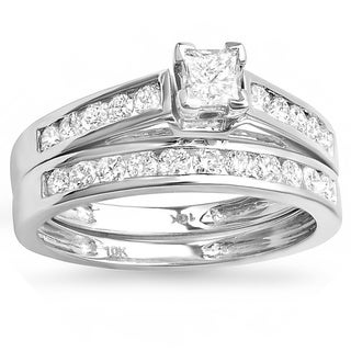 Elora 10k White Gold 4/5ct TDW Diamond Bridal Ring Set