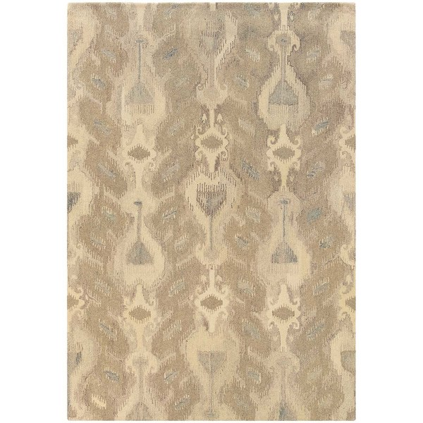 Abstract Ikat Hand-made Ivory/ Beige Rug (8' x 10') - 8' x 10'