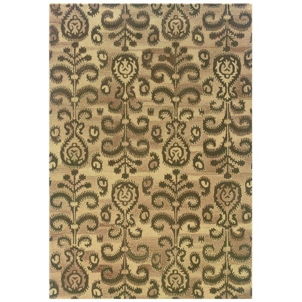 Ikat Floral Hand-made Beige/ Brown Rug (8' x 10')