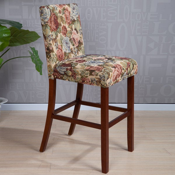 Shop Arbonni Modern Wood Stain Floral Bar Stool Free