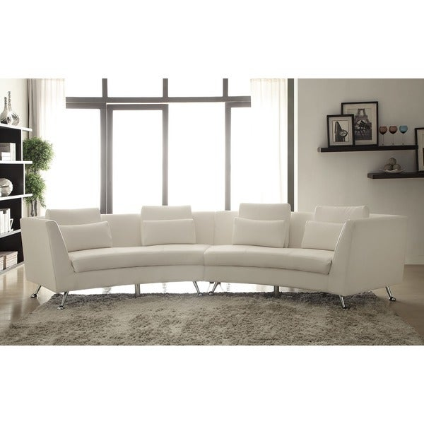 White Leather Sofa Rooms To Go: Lily White Curved Sectional Sofa