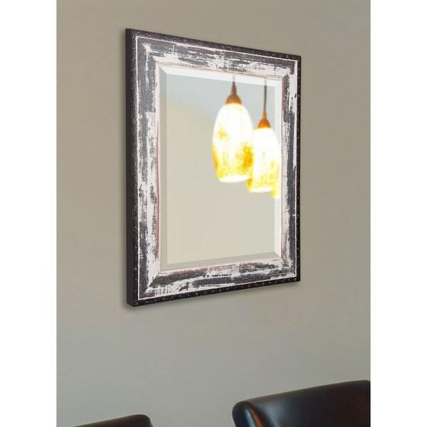 American Made Rayne Rustic Sea-side Beveled Wall/ Vanity Mirror - Black/Ivory