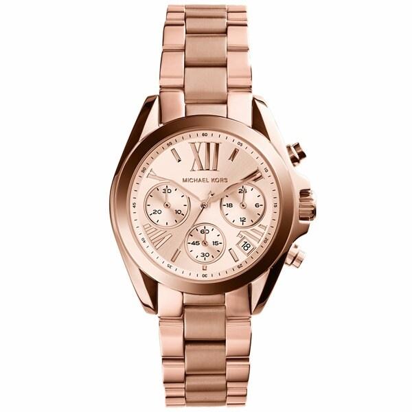 806320cbc343 Shop Michael Kors Women s  MK5799 Bradshaw Mini  Rose Goldtone Watch ...