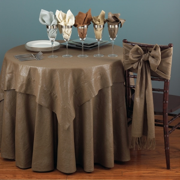 shop classic shimmer linen blend round tablecloth on sale free shipping on orders over 45. Black Bedroom Furniture Sets. Home Design Ideas