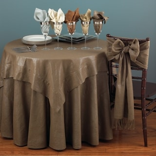 Genial Classic Shimmer Linen Blend Round Tablecloth