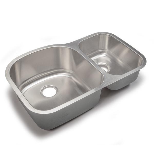 ... gauge Top-Mount/Drop-In Stainless Steel Double 60/40 Bowl Kitchen Sink