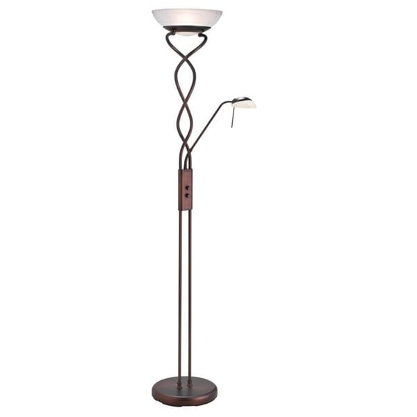 torchiere 3 light oil brushed bronze floor lamp with reading light. Black Bedroom Furniture Sets. Home Design Ideas