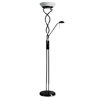Twist Torchiere 3-light Black Chrome Floor Lamp with Reading Light