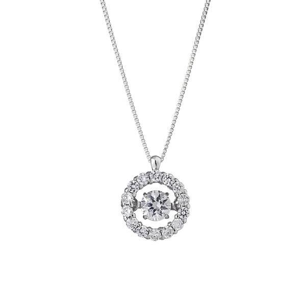 3decfa470bc59 Shop Auriya 14k White Gold 1/3ct TDW 'Dancing Stone' Diamond Halo ...