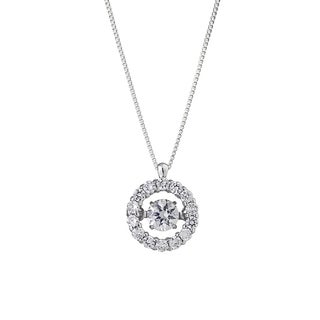 Auriya 14k White Gold 1/3ct TDW 'Dancing Stone' Diamond Halo Circle Necklace (G-H, I1-I2)