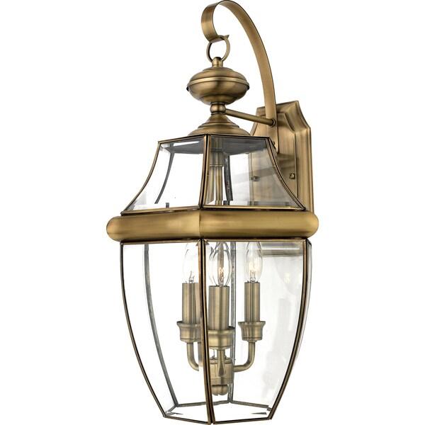 shop quoizel newbury 3 light antique brass glass shade outdoor wall