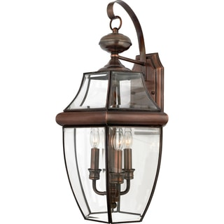 Newbury 3-light Aged Copper Glass Shade Outdoor Wall Lantern
