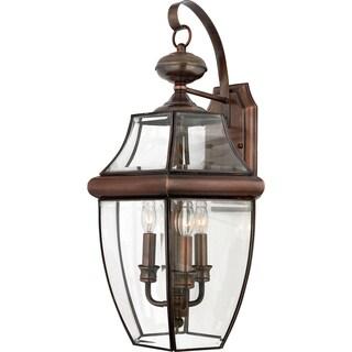 Quoizel Newbury 3-light Aged Copper Glass Shade Outdoor Wall Lantern