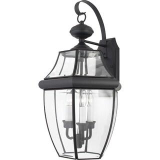 Quoizel Newbury 3-light Mystic Black Glass Shade Outdoor Wall Lantern