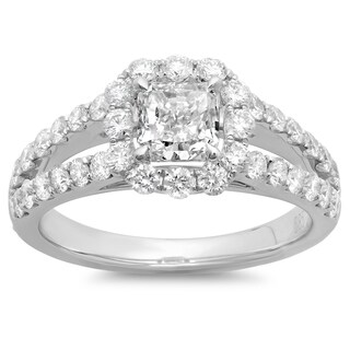 Azaro 14k White Gold 2ct TDW Cushion-cut Diamond Halo Engagement Ring