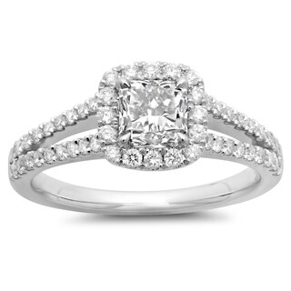 Azaro 14k White Gold 1 1/2ct TDW Cushion-cut Diamond Halo Engagement Ring (G-H, SI2-I1)