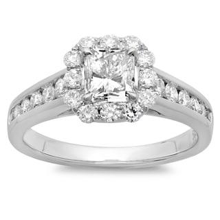 Azaro 14k White Gold 1 3/4ct TDW Cushion-cut Diamond Halo Engagement Ring
