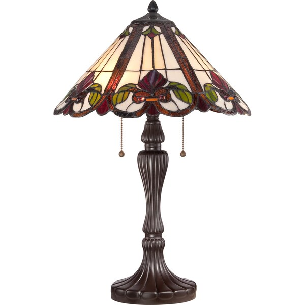 Fields Western Bronze Finish Tiffany-style Glass 2-light Table Lamp