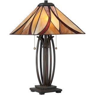 Quoizel Asheville Tiffany-style Scrollwork Valiant Bronze Finish Table Lamp|https://ak1.ostkcdn.com/images/products/8968719/Asheville-Tiffany-Scrollwork-Valiant-Bronze-Finish-Table-Lamp-P16177605.jpg?impolicy=medium