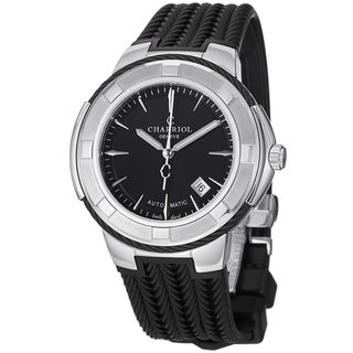 Charriol Men's 'Celtica' Black Dial Black Rubber Strap Watch