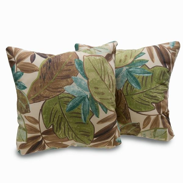 Shop Bahia Leaf Print BrownGreen Decorative Throw Pillows Set Of 40 Best Green Brown Decorative Pillows