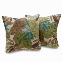 Bahia Leaf Print Brown/Green Decorative Throw Pillows (Set of 2)