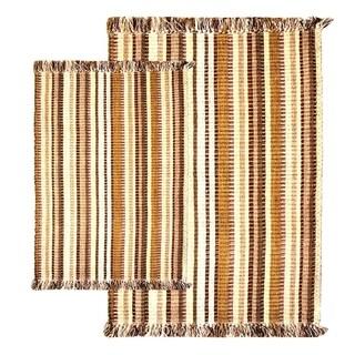 Caramel Multitone Silk Ribbed Two-piece Rug Set - Multi