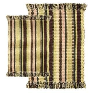 Bayleaf Multitone Silk Ribbed Two-piece Rug Set