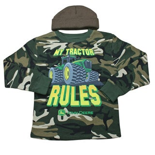 John Deere Boys Camouflage 'My Tractor Rules' Shirt and Hat Set