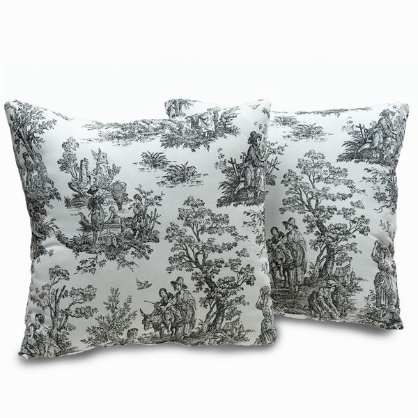 plymouth toile 18 inch decorative throw pillows set of 2. Black Bedroom Furniture Sets. Home Design Ideas