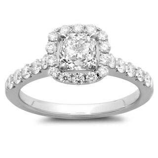 Azaro 14k White Gold 1 5/8ct TDW Cushion-cut Diamond Engagement Ring