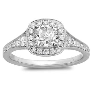 Azaro 14k White Gold 1 2/5ct TDW Cushion-cut Prong-set White Diamond Ring (G-H, SI2-I1)