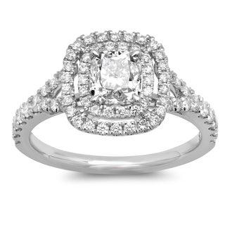 Azaro 14k White Gold 1 3/4ct TDW Cushion-cut Double Halo White Diamond Engagement Ring