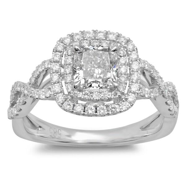 Azaro 14k White Gold 1 1 2ct TDW Cushion cut Braided Diamond Halo Engagement